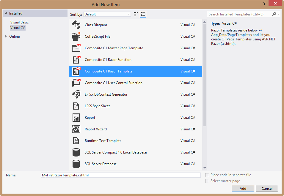 Creating Razor Templates in Visual Studio